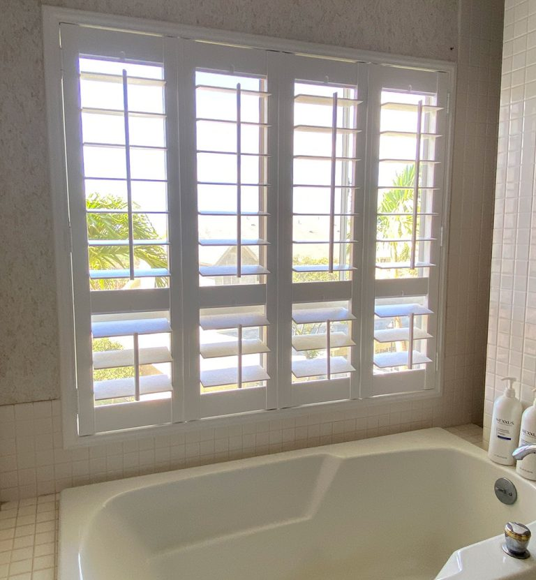 "4-1/2"" louvers in bathroom."