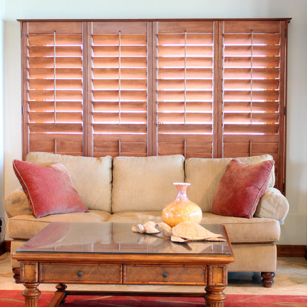 Wood Stained Tropical Shutters